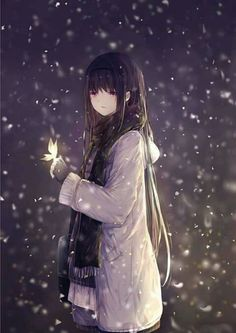 I stood in the flurries, breathing in the cold air. It was very dark except for the light color of snow and the strange but beautiful glow butterflies coming near me.