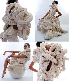 "Phuong Thuy Nguyen, Budapest based designer of Vietnamese origins: her hand knitted   ""Unconventional Body Objects"""