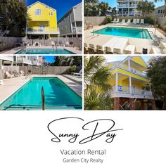 Sunny Day is a five bedroom, four-bath third row beach house located 0.9 miles north of Surfside Beach Pier. This 2,300-square-foot dog-friendly home features six flat-screen TVs, DVD player, and telephones are also provided. Sleeping accommodations include one king, two queen, and four double-sized beds, plus a double sofa bed. Outdoor amenities include a 20-by-14-foot swimming pool, sundeck, two open porches, shower, and ample parking (some covered). #BeachHouse #VacationRental #SurfsideBeach Surfside Beach, One Kings, Vacation Rentals, Dog Friends, Sofa Bed, Square Feet, Sunny Days, Sunnies, The Row