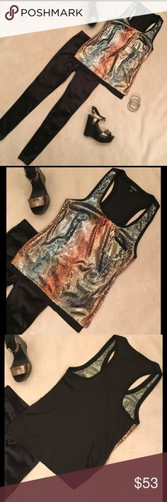 Bebe Sequin Racerback Tank ✨Excellent condition ✨ Worn twice.  Pictures speak for themselves - this is a sexy yet comfortable shirt (hides many sins).  🚫No Trades❗️Make me a reasonable offer and/or request a bundle 🎯 bebe Tops Tank Tops