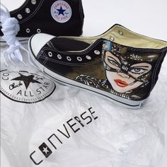Hand Painted Cat Woman High Top Converse All Star Custom HandPained Cat Woman Converse Shoes (high top). WMS 9 and Men's size 7. Brand new without box. Each shoe comes with a dust bag as shown. Laces also included.  Converse Shoes