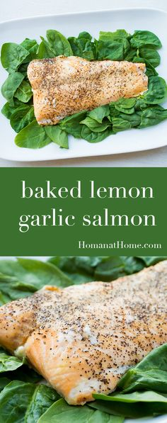 Super simple lemon-garlic salmon is an easy way to serve a gourmet dinner. Takes only fifteen minutes from fillet to perfect baked salmon!
