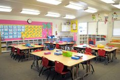 cute, organized, and uncluttered kindergarten classroom. Blog post shows a great classroom tour.