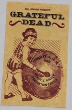 8f6582005a4 Grateful Dead BGP Laminate Backstage Pass - February 1988 Oakland Bill  Graham