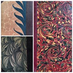 Early 1900's Danish language books with gorgeous marbled covers.