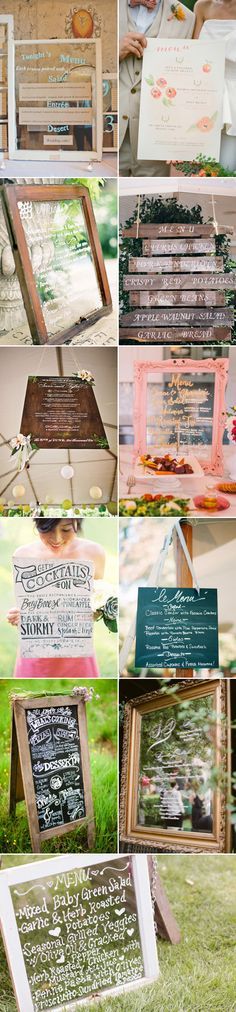 "Our favorite part about wedding design is how you can take the smallest detail and turn it into something fresh and unique!  Menus are generally a ""boring-but-necessary"" item, but a wedding menu with a creative spin will get your guests talking and make the wait for the food more worthwhile.  Here are some menu ideas …"