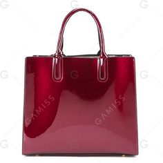 Wine Red Patent Leather 3 Picecs Handbag Bag ($21) ❤ liked on Polyvore featuring bags, handbags, tote bags, man tote bag, wine purse, red tote, tote purses and red hand bags