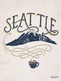 homemadefolk:  drawcoffee:  Seattle + Coffee  I've been missing Seattle lately.