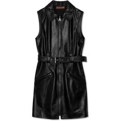 Leather Motorcycle Dress (86.915 RUB) ❤ liked on Polyvore featuring dresses, sleeveless leather dress, special occasion dresses, sleeveless cocktail dress, genuine leather dress and evening dresses