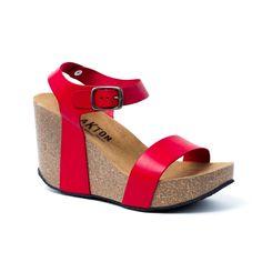 3e592325e89a I KISS ROUGE chaussures ouvertes compensées pour femme de marque plakton  modèle i kiss rouge en