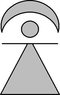 Goddess worship: Symbol of Tanit, lunar crescent and solar disc