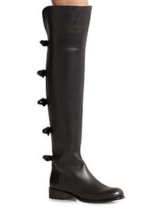 Valentino - Leather Over-The-Knee Bow Boots