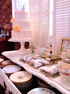 A beautiful, vintage dessert and tea bar features our vintage plates and teacups!  - Southern Vintage Table