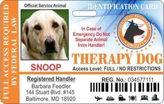 Therapy Service Dog Horizontal Badge ID -- You can find out more details at the link of the image.