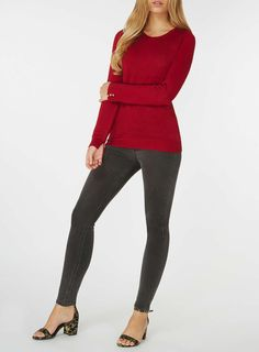 Womens Red Button Cuff Jumper- Red