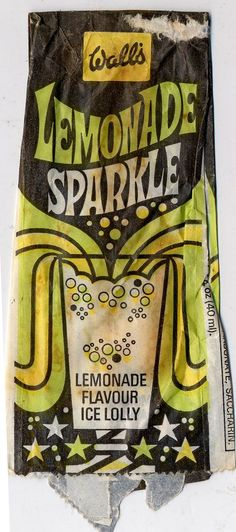 Wall's Lemonade Sparkle ice lolly wrapper 1970s