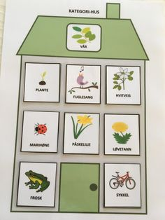 Kategori-hus – Språkhjerte English Activities, Book Activities, Jack And The Beanstalk, Montessori Materials, Pictogram, Life Cycles, Crafts For Kids, Preschool, Projects To Try