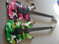 Guitar Art, Cool Guitar, Heavy Rock, Eddie Van Halen, Custom Guitars, Pink Camo, Electric Guitars, Musical Instruments, Bass