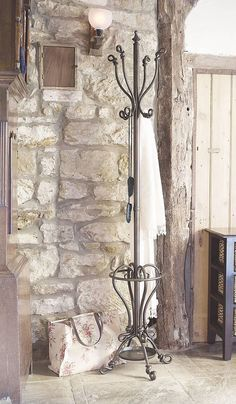 slender wrought iron coat stand by dibor. Iron Furniture, Entryway Furniture, Hallway Decorating, Interior Decorating, Coat Tree, Diy Kleidung, Hat Stands, Iron Art, Iron Decor