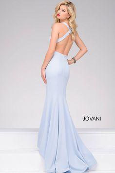 Blue Form Fitting Sleeveless Prom Dress 34110