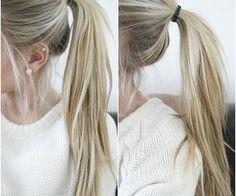 Long blonde straight ponytail