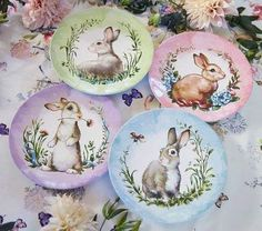 Bring sweet springtime style to the table with a plate of their very own during Easter brunch! Curious rabbits surrounded by flora adorn these cheery, shatterproof plates. Imagined with world-renowned fashion designer Monique Lhuillier, it brings … Easter Dishes, Easter Table, Easter Eggs, Floral Tablecloth, Bunny Art, Easter Printables, Easter Celebration, Cute Home Decor, China Painting