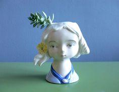 Vintage+Pflanzkopf+Vase+Kopf+Bubikopf+Mädchen+von+ILoveSparrows+auf+DaWanda.com