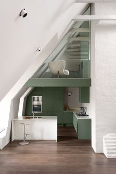 Note Design Studio adds colour-block rooms to The Mantelpiece Loft Note Design Studio, Notes Design, Loft Design, Inspiration Design, Interior Inspiration, Design Ideas, Green Kitchen Designs, Minimal Apartment, Summit Homes