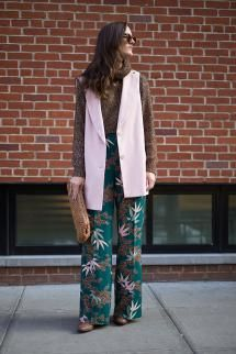Layer Up: 11 Fresh Ways To Wear A Vest: Wear A Vest With Printed Pants