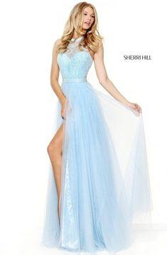 1b14fe95c3f4 2017 Sherri Hill 50859 Open Back Beaded Patterned Light Blue Halter  Neckline Slit Long Tulle Prom Dresses : 2017 Gorgeous Prom Dresses Cheap -  Outlet With ...