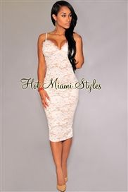 Off-White Floral Lace Nude Illusion Padded Midi Dress