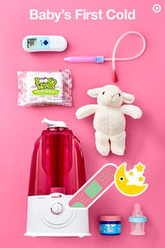 Did your little one catch their first bug? Here's how to survive and help make Baby feel better, too. Stock your medicine cabinet (and your Target Baby Registry) with infant-approved medicines, like fever reducers, nasal sprays, and the much-talked-about Nose Frieda nasal aspirator. And, you're going to want to stock up on Boogie Wipes. They gently break up boogies with natural saline, making it easier on little noses. TIP: Run a humidifier. The cool mist adds much-needed moisture to dry…