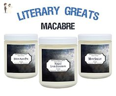 Literary Greats Candle Set - The Macabre - Includes, Edgar Allan Poe, Robert Louis Stevenson, Mary Shelley – 3 x 4 ounce Book Candles Literary Gifts For Book Nerds - Wedding candles and holders (*Amazon Partner-Link)
