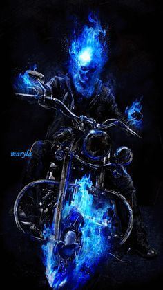Ghost Rider and Angel Rider Ghost Rider Wallpaper, Skull Wallpaper, Comic Book Characters, Comic Character, Marvel Dc Comics, Marvel Heroes, Ghost Rider Marvel, Blue Ghost Rider, Skull Art