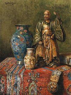 Max Schodl (Austrian, 1834 - 1921) Asian still life 1913