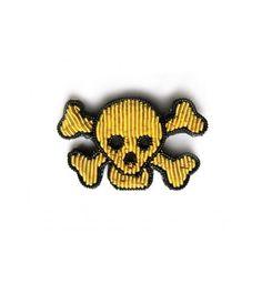 Broche brodée - Tête de mort dorée