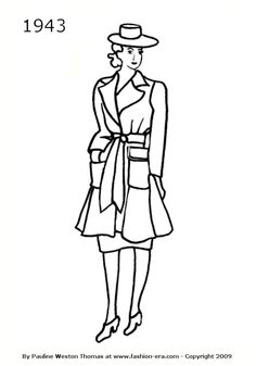 women's coat sketches 1940's - Google Search