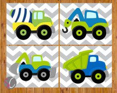 Instant Download Boys Construction Trucks Equipment by scadesigns