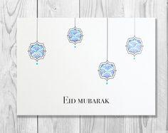 Hand Drawn Eid Mubarak Card - Eid Greeting Card - Happy Eid - Islamic Cards - Muslim Cards - Islamic Greetings