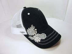 Black and White Trucker Hat with Applique Flowers and Rhinestones by TheBillyBeads