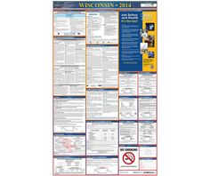 Labor Law Poster, WISCONSIN, 39X27 STATE AND FEDERAL