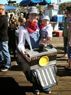 Mom and son Halloween Costumes! Train Conductors!
