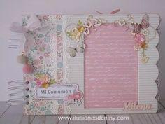 Baby Girl Scrapbook, Mini Scrapbook Albums, First Communion, Frame, Gifts, Ideas, Pink, Notebooks, Travel Album