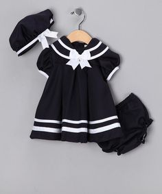Take a look at this Navy Nautical Dress Set - Infant by Set Sail: Kids' Apparel & Accessories on @zulily today!