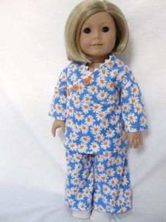 American Girl Doll Clothes Blue & White Daisy PJs