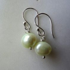 Apple white pearl earrings; pale green genuine freshwater cultured pearl drops, solid silver, June birthstone, limited edition bridesmaids gift.  Handmade in the UK by CalicoRoseStudio.  from £8.50