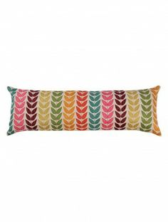 Laurel Silk Applique Cotton-Linen Cushion Cover - 12in x 36in
