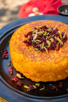 Tahchin-e Morgh has a crispy golden rice crust on the outside and juicy chicken in the centre and sweet and sour barberries on top. Persian Chicken And Rice Recipe, Iranian Chicken Recipe, Iranian Cuisine, Iranian Food, Easy Cooking, Cooking Recipes, Rice Recipes, Dessert Recipes, Hemp Recipe
