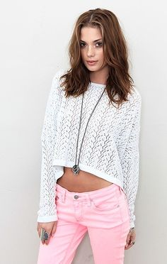 pink . white . cropped . crocheted . goooo spring .