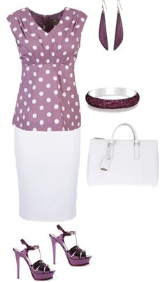 """""""Purple and White Summer Work Outfit"""" by amythystqu on Polyvore. I love polka dots"""